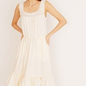 Madewell Crochet-Strap Tiered cream Midi Dress NEW